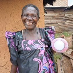 African woman with solar product